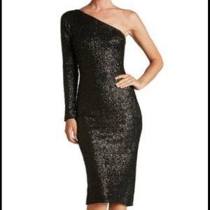 Dress the Population One shoulder Midi dress